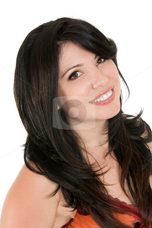 Smiling woman with long brunette hair stock photo, Happy woman with long brunette hair by Leah-Anne Thompson