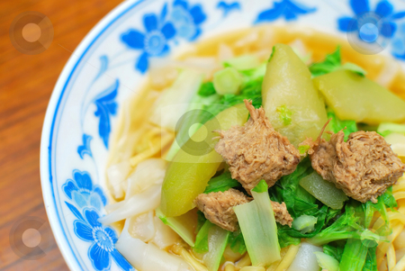 Chinese style vegetarian noodles stock photo, Sumptuous looking Chinese style vegetarian white noodles with mock meat and vegetables. Suitable for concepts such as diet and nutrition, healthy eating and healthy lifestyle, and food and beverage. by Wai Chung Tang