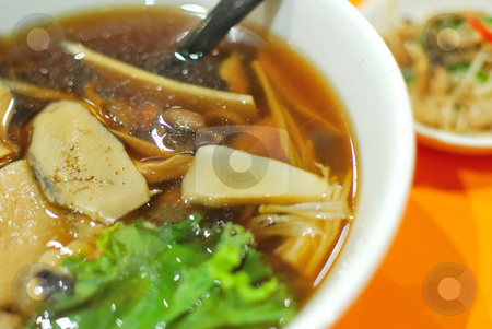 Healthy, Chinese vegetarian noodles stock photo, Sumptuous and healthy looking Chinese vegetarian mushroom noodles. Suitable for concepts such as diet and nutrition, healthy eating and healthy lifestyle, and food and beverage. by Wai Chung Tang