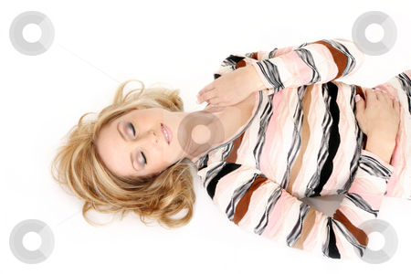 Sleeping woman eyes closed stock photo, Restful woman getting some r&r or beauty sleep by Leah-Anne Thompson