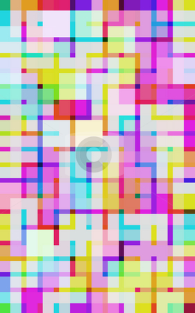 Vivid digital squares stock photo, A brightly coloured background of squares boxed in by narrower lines by Stephen Gibson