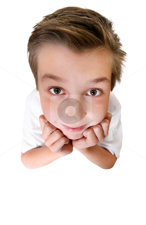 Brainiac - comical boy or student stock photo, Comical boy with a big head looking up. Focus is to the boys face only. by Leah-Anne Thompson