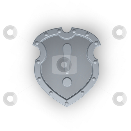 Attention stock photo, Metal shield with exclamation mark on white background - 3d illustration by J?