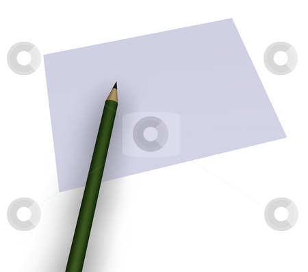 Pencil and paper stock photo, Blank paper and a pencil on white background - 3d illustration by J?