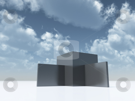 Abstract architecture stock photo, Abstract architecture under cloudy blue sky - 3d illustration by J?