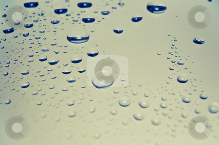Colored rain drops on the glass  stock photo, Water drops on glass surface - background texture by Pavel Filippov