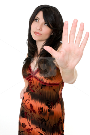 Woman with attitude stock photo, A woman showing attitude, such as conflict talk to the hand or say No concept by Leah-Anne Thompson