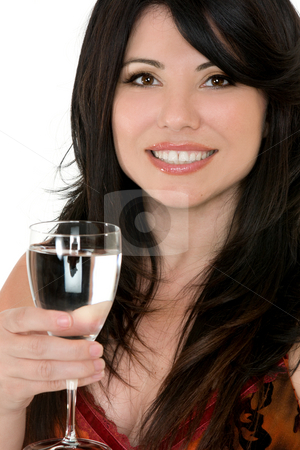 Drink to good health stock photo, Healthy choices.   A woman with a glass of water by Leah-Anne Thompson
