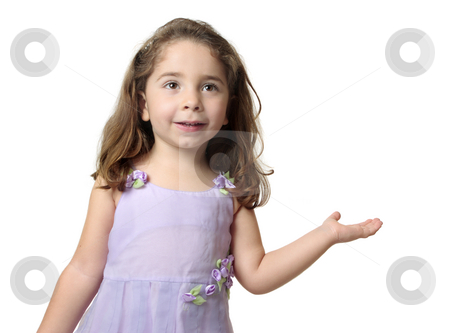 Pretty smiling girl showing hand outstretched stock photo, Pretty smiling girl with hand outstretched palm facing upwards.  Suitable to add  your product or a message. by Leah-Anne Thompson
