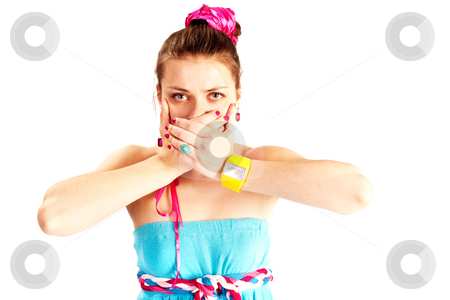 Secret stock photo, People series:  portrait of young girl in bright clothes by Gennady Kravetsky