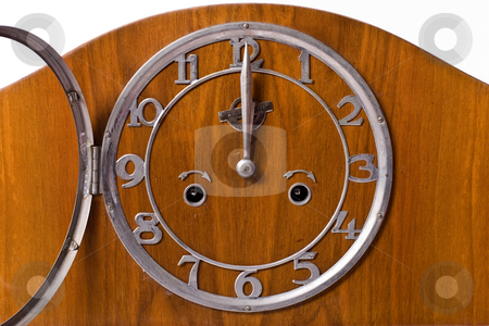 Clock stock photo, Object series: old wooden clock, midnight, clock dial by Gennady Kravetsky
