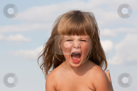 Scream stock photo, People series: summer portrait of screaming little girl by Gennady Kravetsky