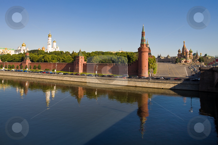 Moscow Kremlin stock photo, Travel series: old Moscow Kremlin and river quay by Gennady Kravetsky