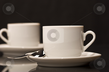Cup stock photo, White cups over black by Gennady Kravetsky