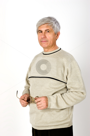 Pensioner stock photo, People series: Portarit of aged man with glasses by Gennady Kravetsky