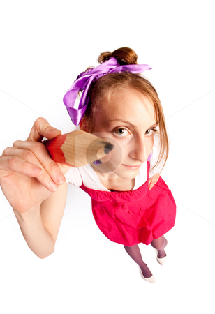 Girl make note stock photo, People series: funny girl with pencil, fish eye by Gennady Kravetsky