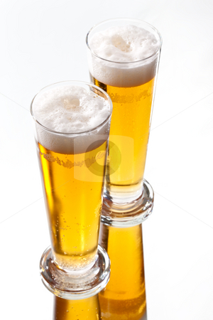 Beer  stock photo, Food series: two glasses of light beer by Gennady Kravetsky
