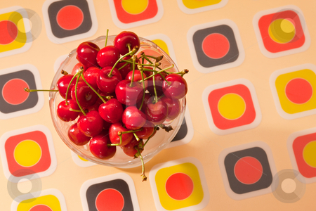 Cherry stock photo, Food series: red cherries in glassy bowl by Gennady Kravetsky