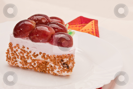 Fancy cake with grapes stock photo, Food serie: sweet fancy cake with grapes by Gennady Kravetsky