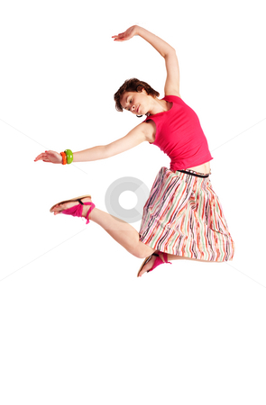 Flight stock photo, People series: young girl in bright clothes flight by Gennady Kravetsky