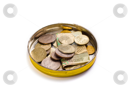 Money stock photo, Financial series: tin with Russian money by Gennady Kravetsky