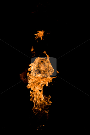 Tongues of flame stock photo, Fire series: high flame over dark background by Gennady Kravetsky
