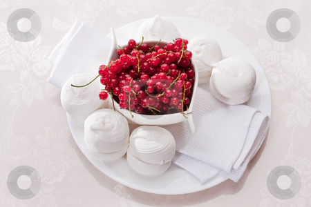 Marsh-mallow stock photo, Food series: white marsh-mallow with red currant by Gennady Kravetsky