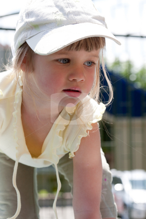 Little girl stock photo, People series: little funny girl play in the outdoor by Gennady Kravetsky