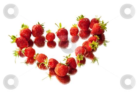 Berry heart stock photo, Food series: red strawberry on the white background by Gennady Kravetsky