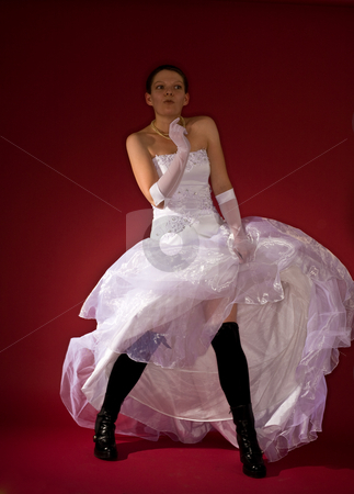 Funny fiancee stock photo, Funny girl on the white clothes and black stockings by Gennady Kravetsky