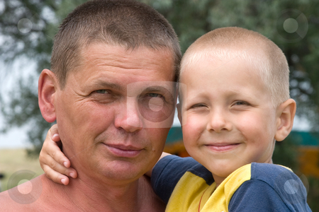 Father and son stock photo, People series: Portarit of father and son by Gennady Kravetsky