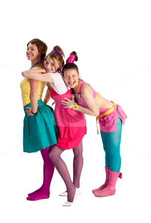Attractive girl stock photo, People series: three young girls in bright clothes by Gennady Kravetsky