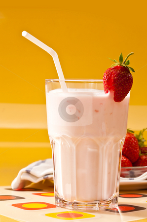 Strawberry dessert stock photo, Food series: milk cocktail with ripe strawberry by Gennady Kravetsky