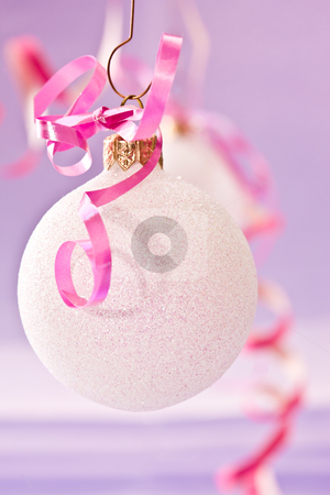 Christmas decoration stock photo, Holiday series:  Christmas decorated white ball withy ribbon by Gennady Kravetsky