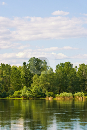 River landscape stock photo, Landscape series: river and forest under blue cloudy sky by Gennady Kravetsky