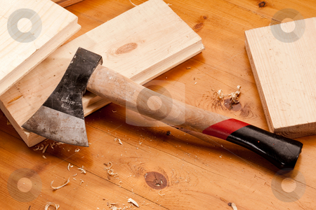 Axe stock photo, Tools series: bench axe on the wood by Gennady Kravetsky