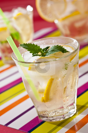 Cold tea stock photo, Drink series: cold tea with mint and lemon by Gennady Kravetsky