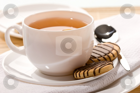 Cup of tea stock photo, Drink series: cup of tea with pastry by Gennady Kravetsky