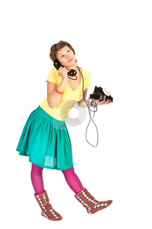 Phone girl stock photo, People series: young girl in bright clothes speak on phone by Gennady Kravetsky