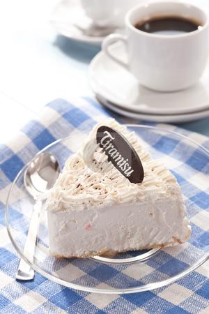 Tiramisu stock photo, Food series: white fancy cake for coffee by Gennady Kravetsky