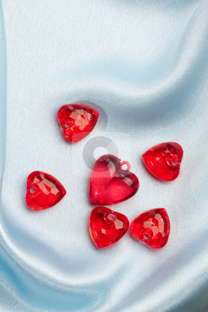 Valentine decoration stock photo, Red glassy decoration and heart for valentine day by Gennady Kravetsky