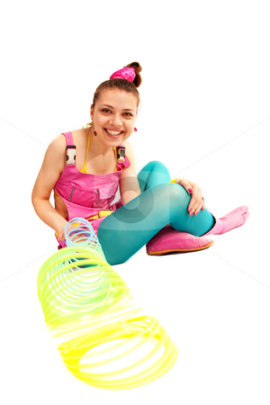 PLEASURE stock photo, People series: young girl in bright clothes play by Gennady Kravetsky