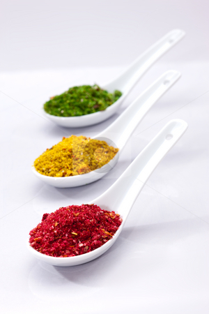 Spicery stock photo, Food series: three spoons with different spices by Gennady Kravetsky