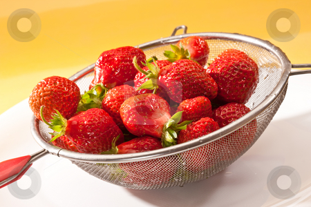 Strawberry stock photo, Food series: red straberries in steel collander by Gennady Kravetsky