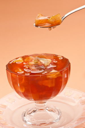 Apple jam stock photo, Food series: apple jam in tea spoon by Gennady Kravetsky