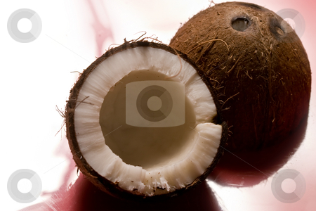 Coconut stock photo, Exotic fruit series: whole and broken coconut by Gennady Kravetsky