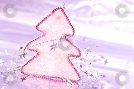 Christmas fir stock photo, Holiday series: christmas decorated fir with garland by Gennady Kravetsky