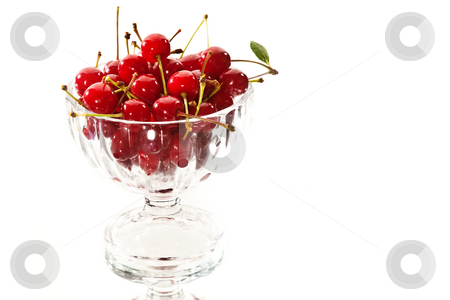 Cherries stock photo, Food series: ripe red cherries in the glassy bowl by Gennady Kravetsky