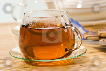 Tea stock photo, Drink series: transparent cup of hot tea by Gennady Kravetsky
