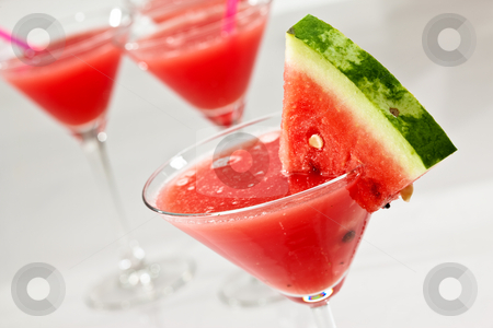 Water-melon stock photo, Food series: some glasses with water melon beverage by Gennady Kravetsky